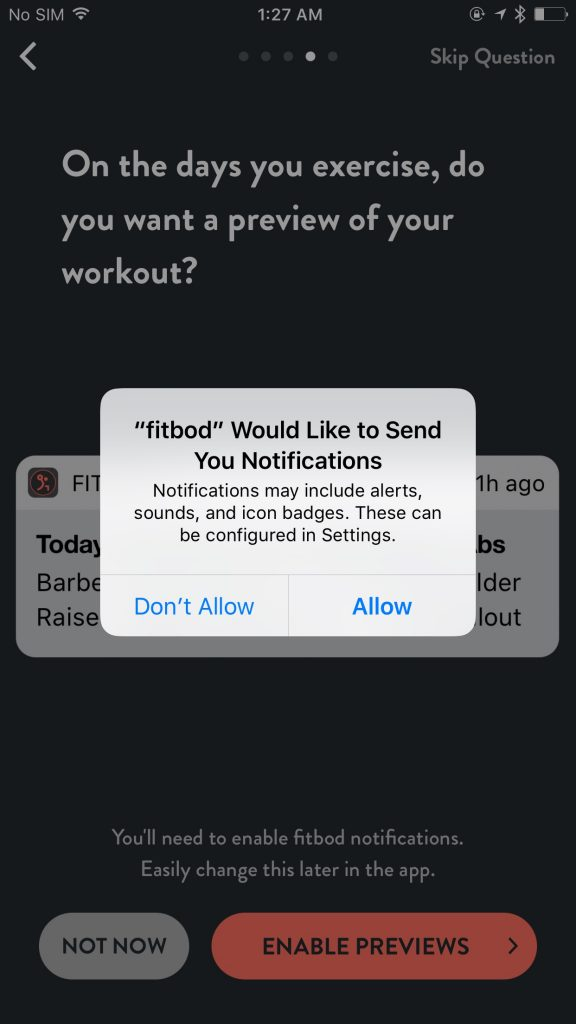 Fitbod Notification